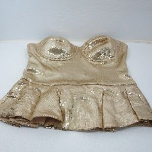 bebe Gold Sparkles Body Suite Small
